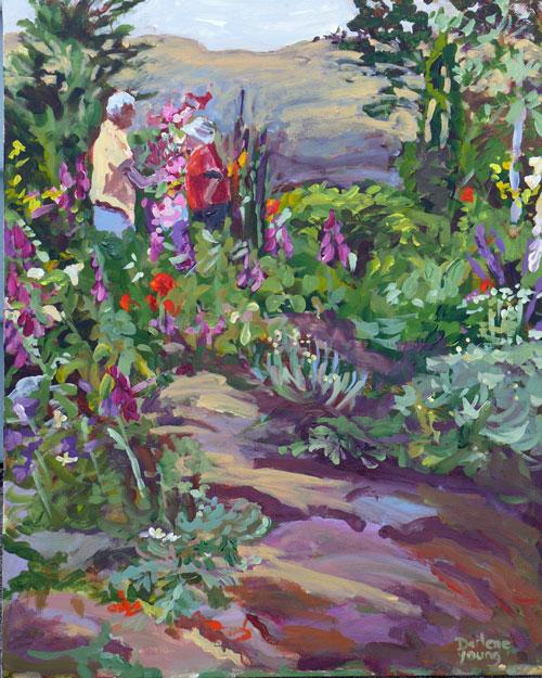 """""""Garden Talk, acrylic on canvas, 16x20"""" original fine art by Darlene Young"""