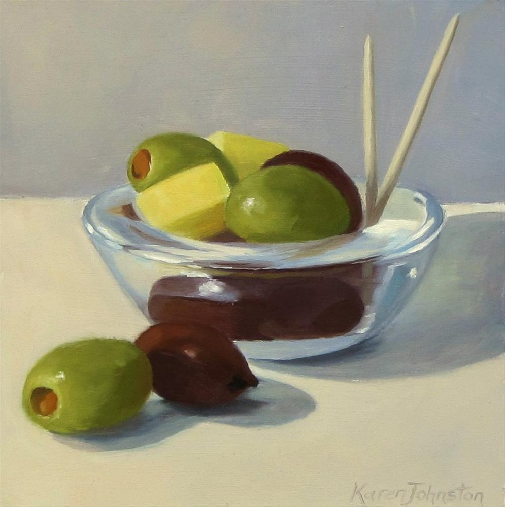 """Cheese and Olive Snack"" original fine art by Karen Johnston"