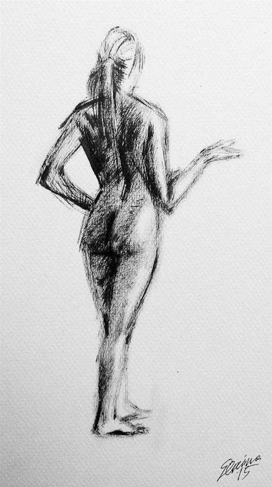 """Nu standing"" original fine art by Elena Senina"