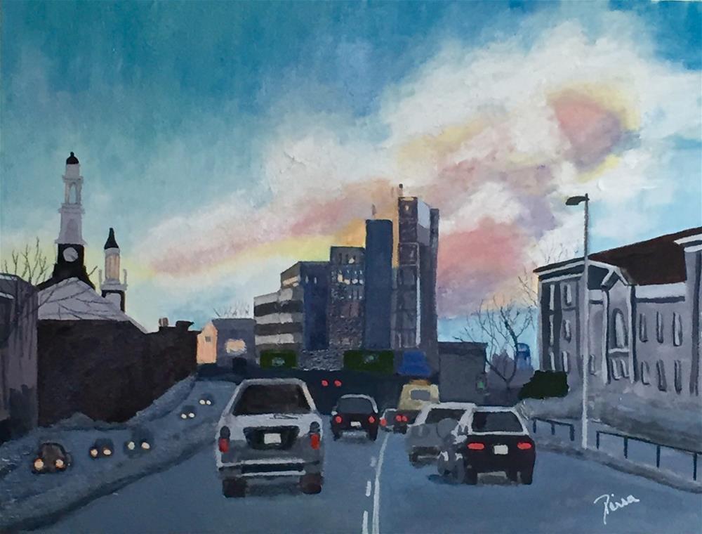 """Winter, Downtown Madison"" original fine art by Reisa Peters"