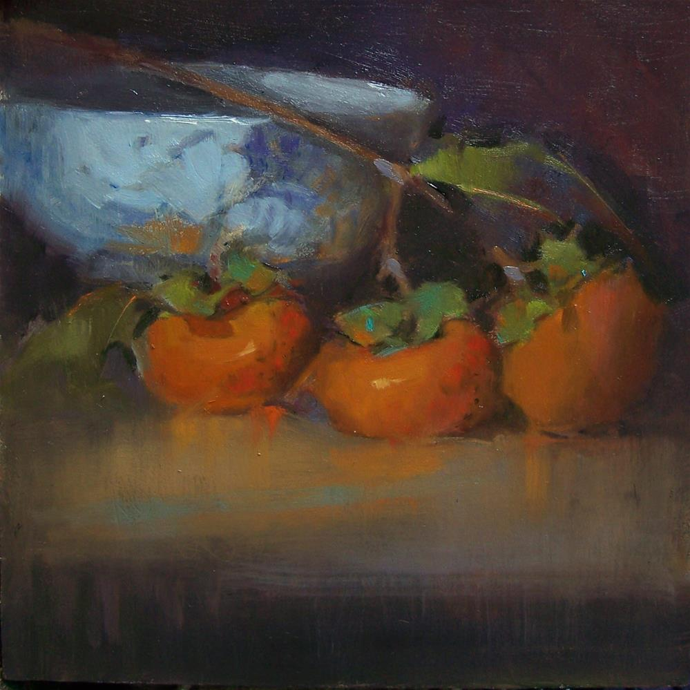 """3 Persimmons"" original fine art by Kim Roberti"