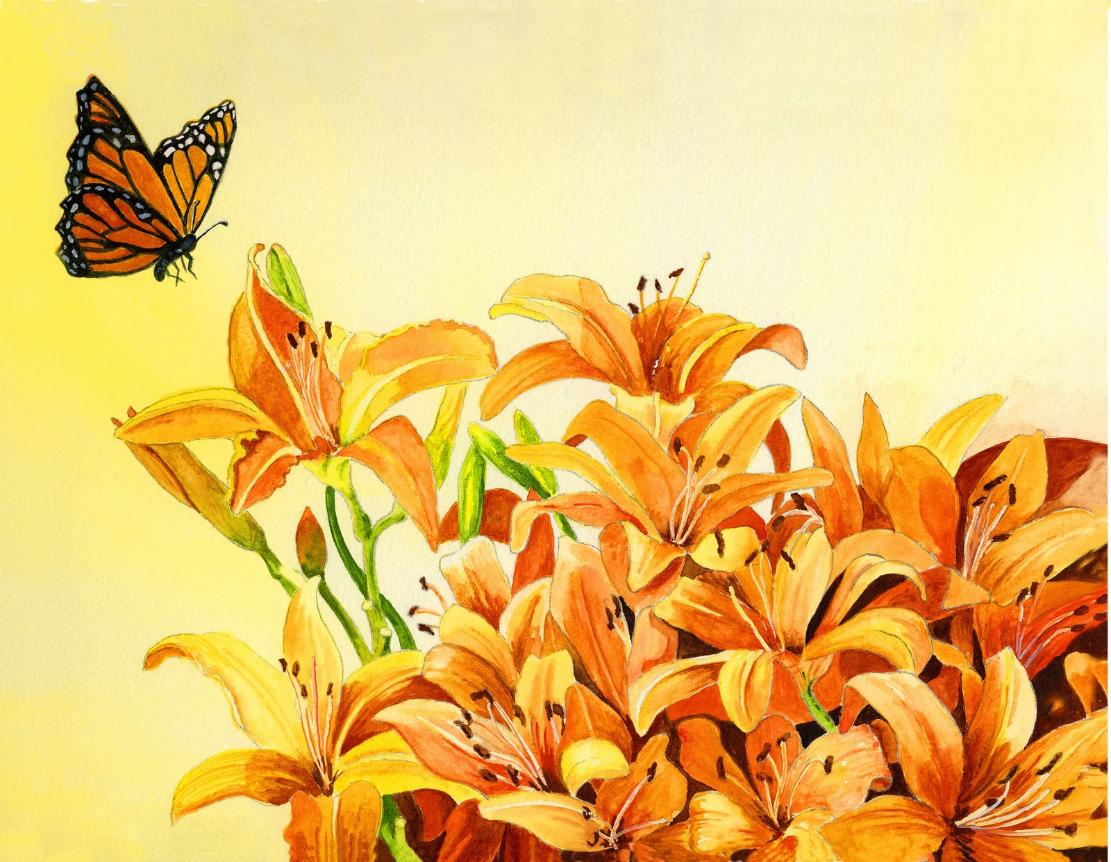 """Day Lilies With Guest"" original fine art by Michelle Wolfe"