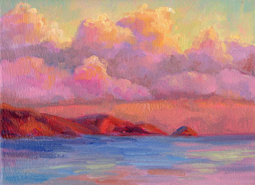 """CLOUD LAYERS OVER MOLOKAI"" original fine art by Karen E Lewis"