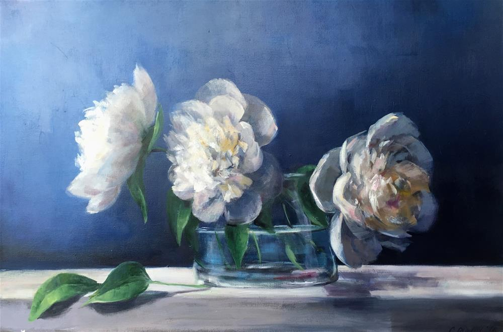 """Peonies on Blue"" original fine art by Christina Dowdy"