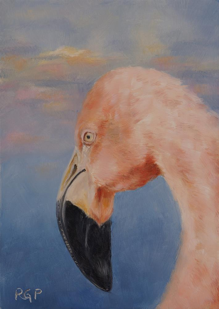 """Flamingo Sky"" original fine art by Rhea  Groepper Pettit"