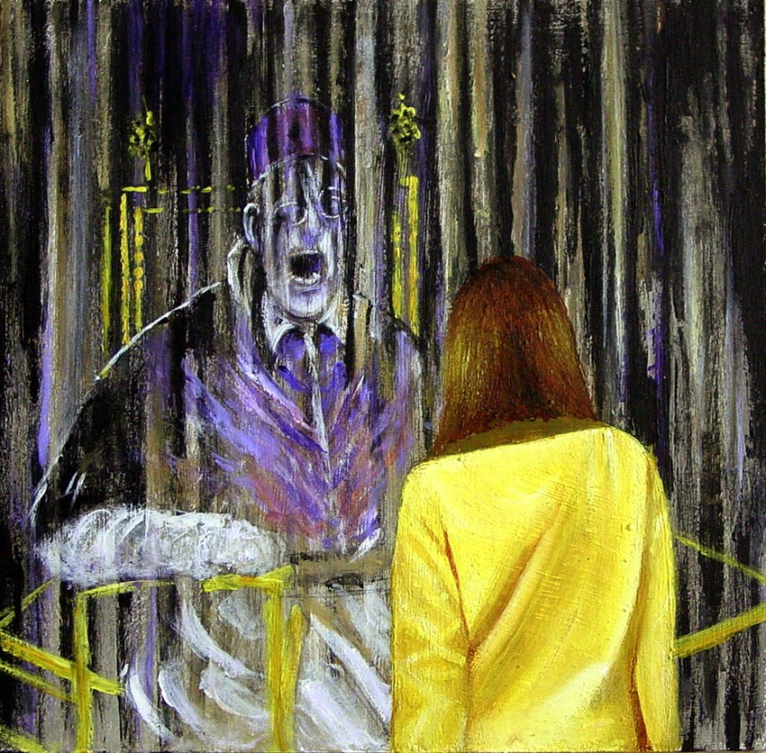 """Screaming Pope- Painting Of Woman Wnjoying Painting Of Screaming Pope By Francis Bacon"" original fine art by Gerard Boersma"
