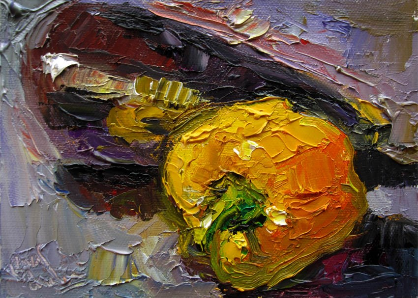 """Yellow Bell, Eggplant"" original fine art by Carol Steinberg"