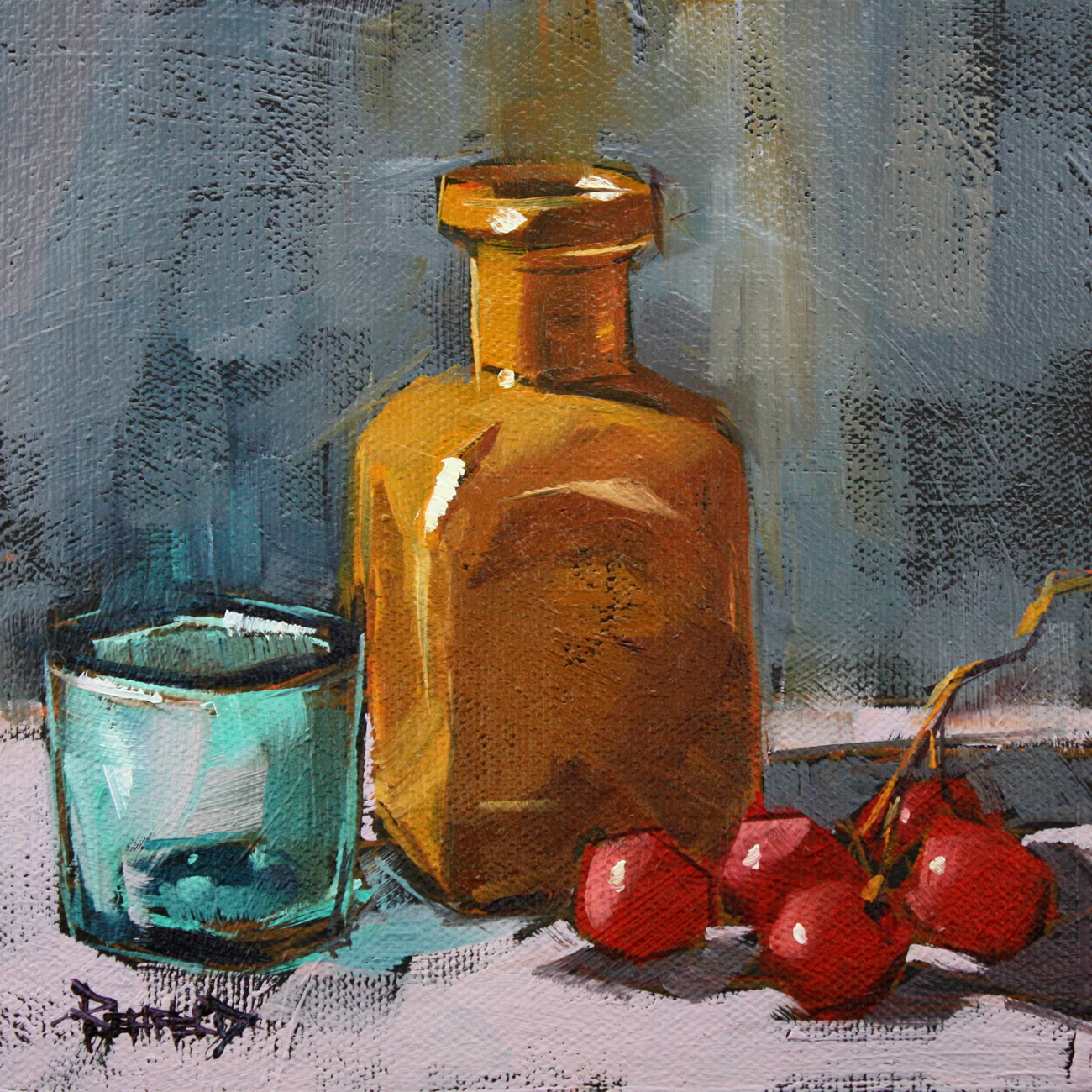 """Ochre Bottle and Grapes"" original fine art by Cathleen Rehfeld"