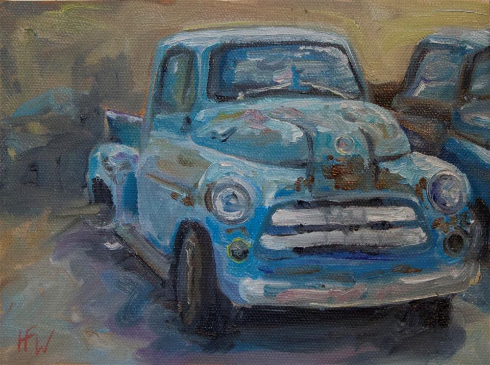 """Old Blue Truck"" original fine art by H.F. Wallen"