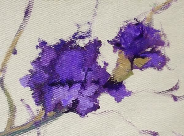 """Still Life Floral Painting, Flower Art Purple Blossom by Colorado Artist Susan Fowler"" original fine art by Susan Fowler"