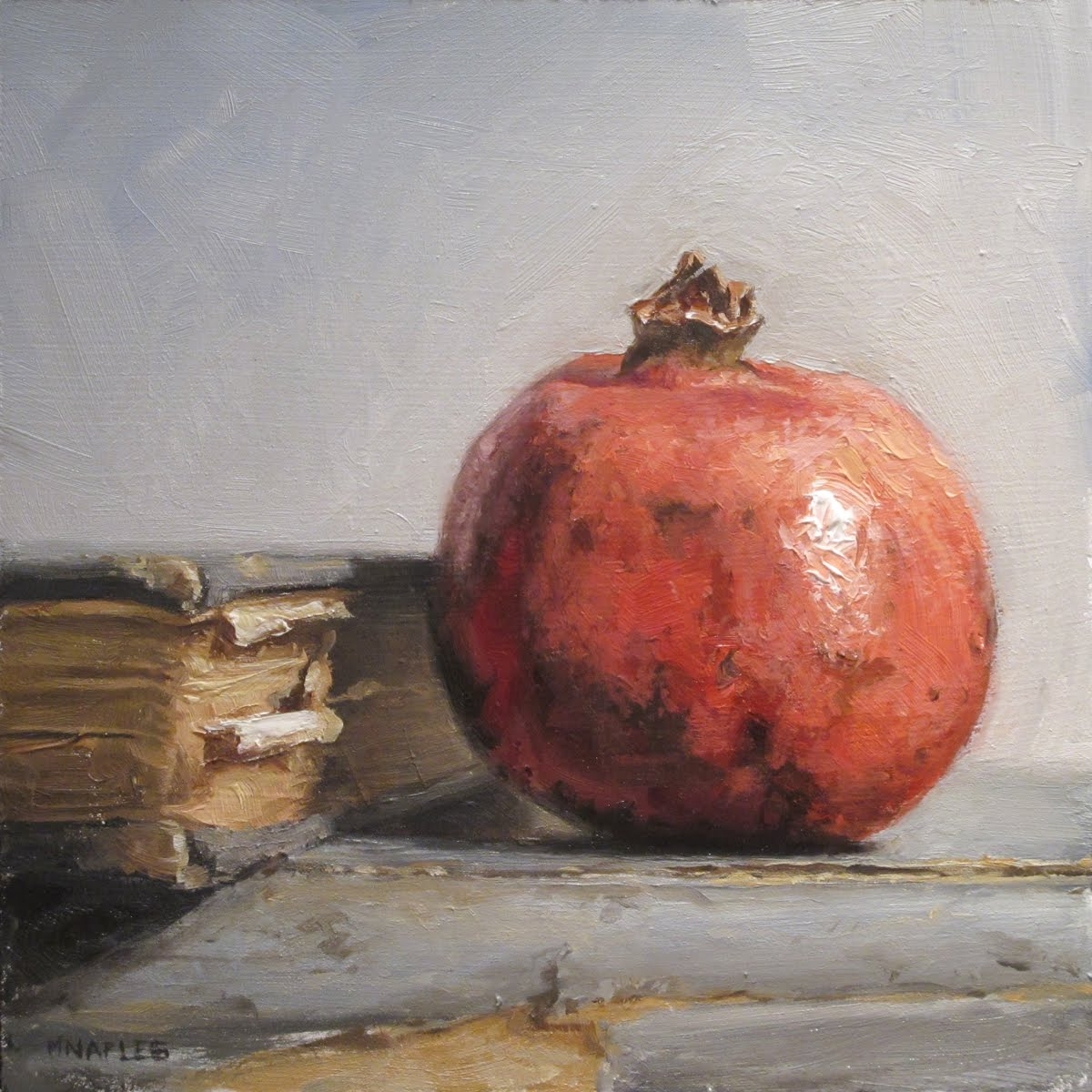 """Pomegranate with Books"" original fine art by Michael Naples"