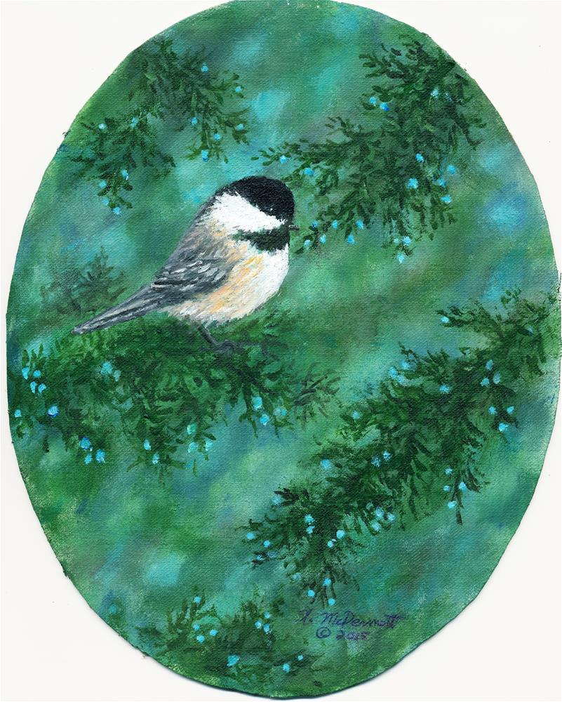 """Cear Chickadee Bird # 1"" original fine art by Kathleen McDermott"
