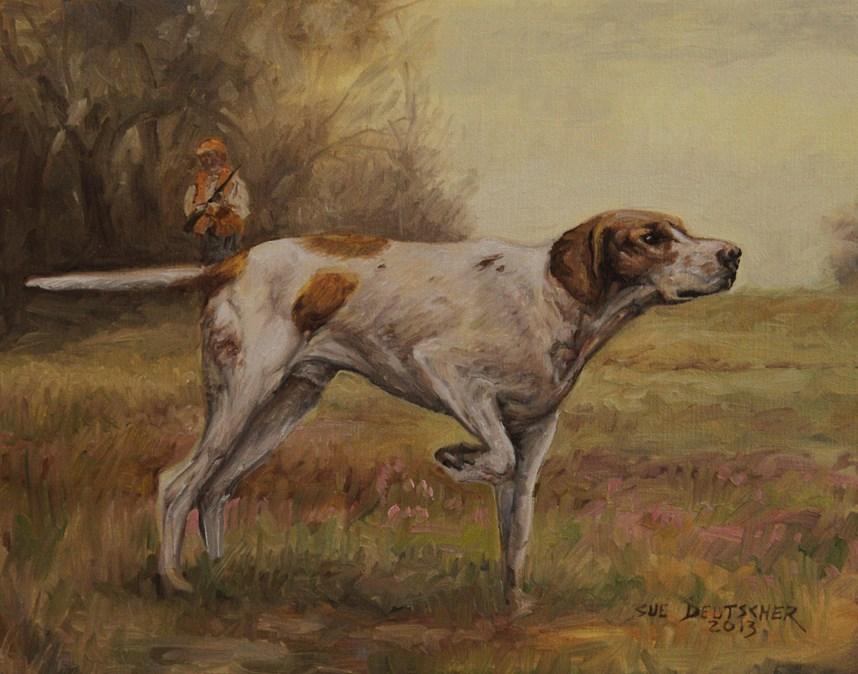 """""""English Pointer"""" original fine art by Sue Deutscher"""