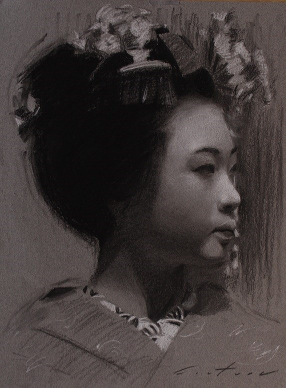 """""""Maiko Portrait in Charcoal"""" original fine art by Phil Couture"""