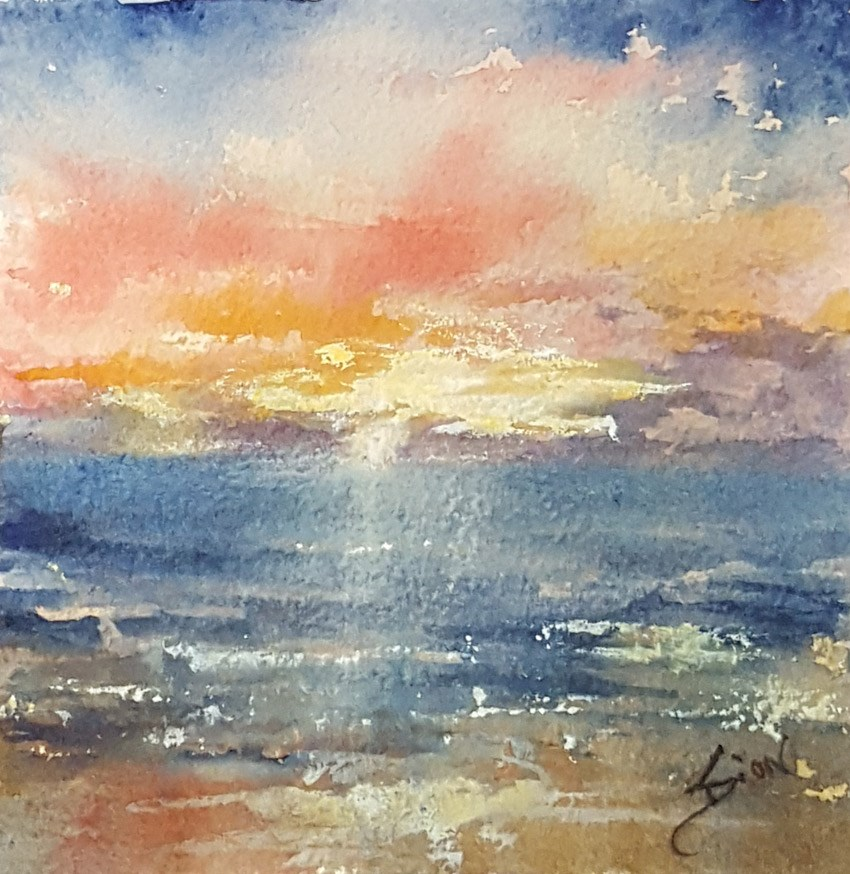 """Fire Sky at Dawn"" original fine art by Sue Dion"