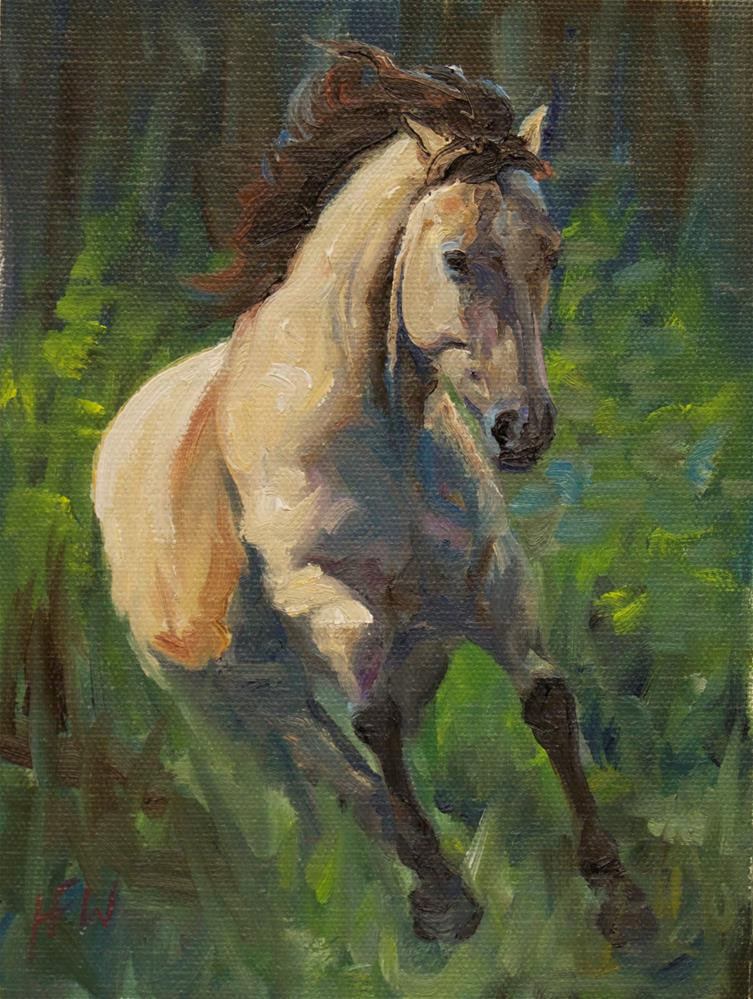 """Buckskin in Flight"" original fine art by H.F. Wallen"
