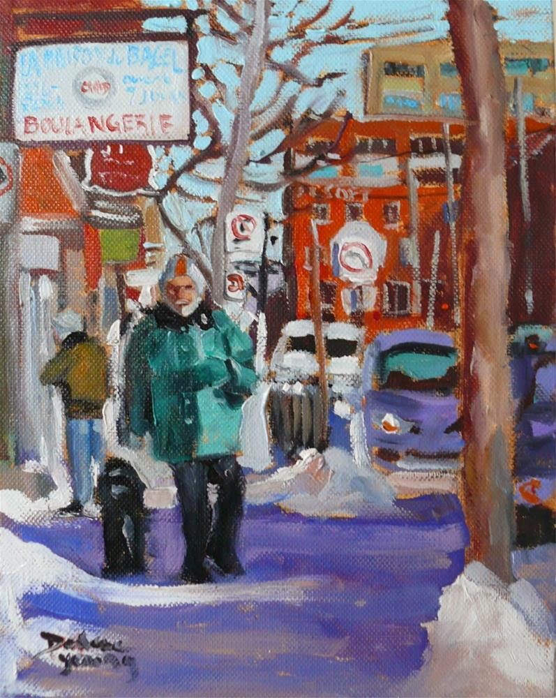 """824 Montreal Winter Scene, St-Viateur Bagel, 8x10, oil on board"" original fine art by Darlene Young"