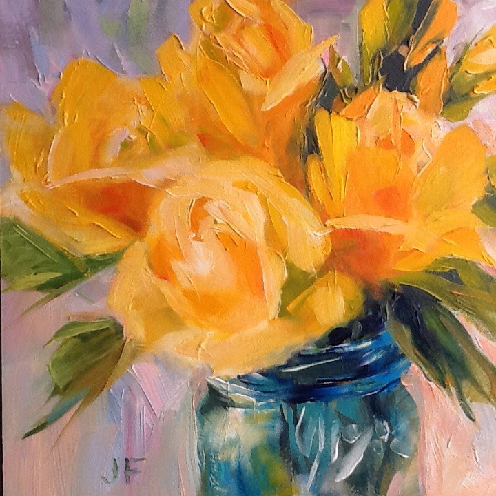 """Blue Jar with Yellow Roses"" original fine art by Jean Fitzgerald"