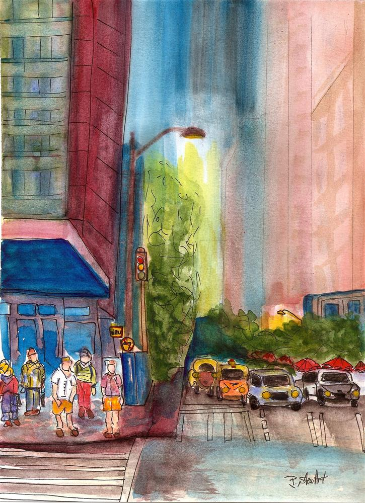 """8.5 x 11.5 Cityscape Night Life Crosswalk Cars Street Buildings by Penny StewArt"" original fine art by Penny Lee StewArt"