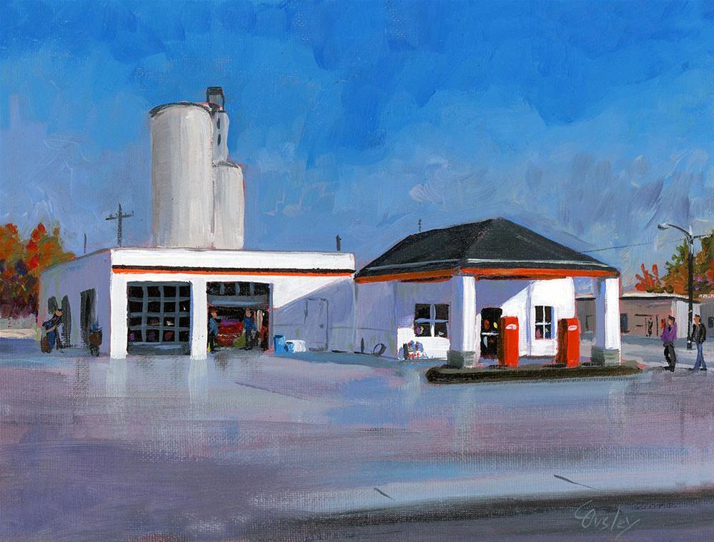"""Colo Iowa Gas Station"" original fine art by Chris Ousley"