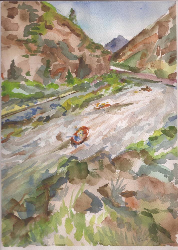 """Arkansas River Rafters free shipping"" original fine art by Jean Krueger"