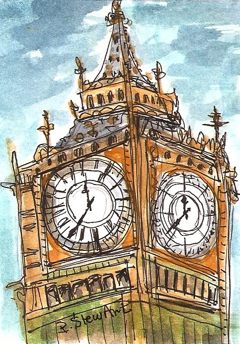 """ACEO Big Ben London Clock Time Art Painting illustration Art Penny StewArt"" original fine art by Penny Lee StewArt"