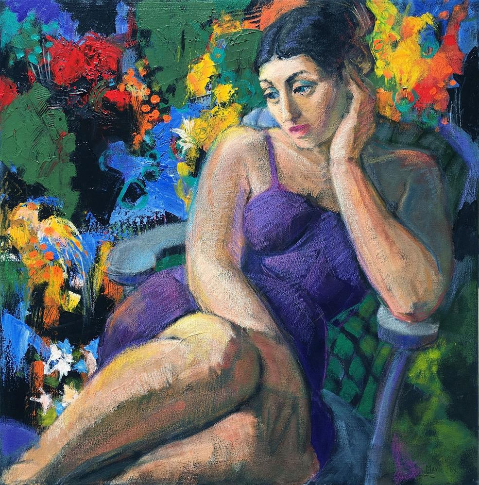 """In Her Garden, figurative woman seated among flowers, thoughtful girl, abstract figurative, female f"" original fine art by Marie Fox"