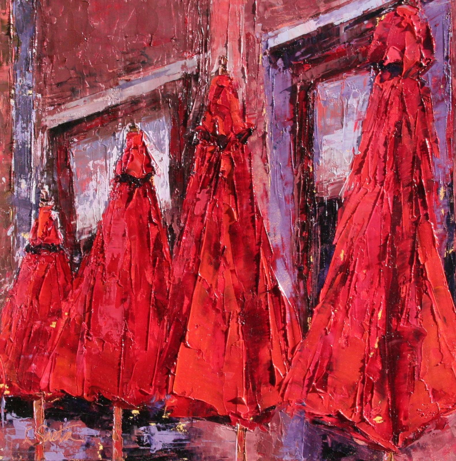 """Red Umbrellas - SOLD"" original fine art by Leslie Saeta"