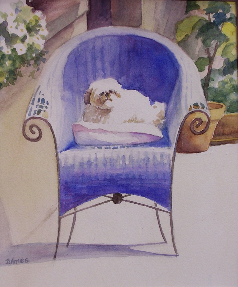 """French Doggie"" original fine art by Debra Ames"