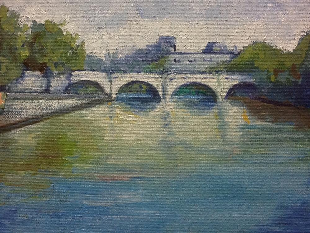 """Bridge View - paris"" original fine art by barbara yongue"