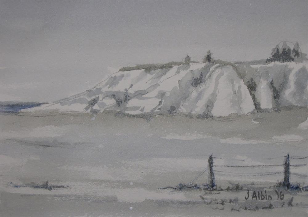 """Badlands in Snow"" original fine art by Jane Albin"