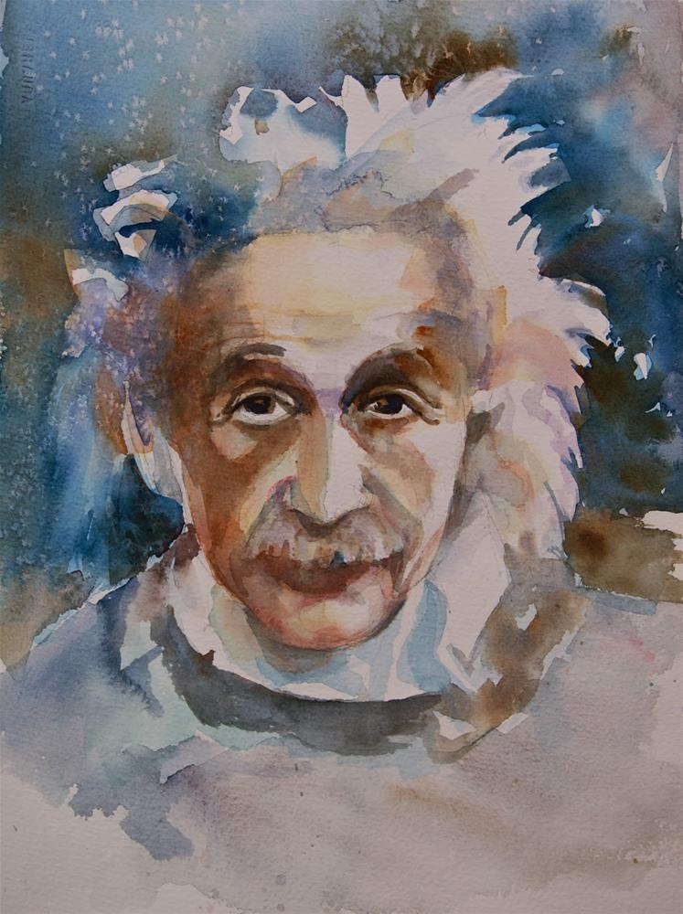 """Einstein in Blue"" original fine art by Reveille Kennedy"