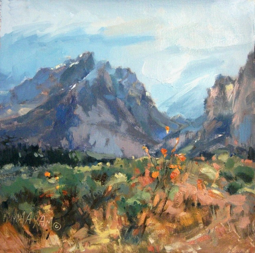 """""""Teton Mountains, A Second View.... Revised"""" original fine art by Mary Maxam"""