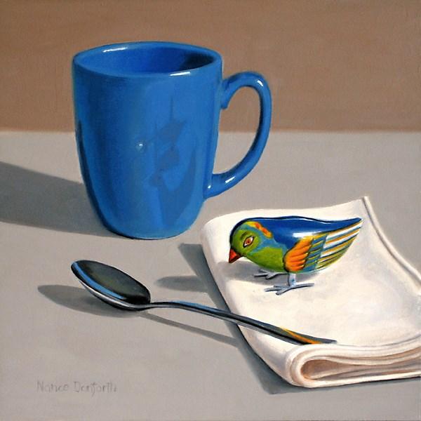 """Blue Bird with Mug"" original fine art by Nance Danforth"