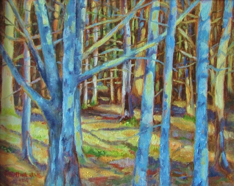 """Maine Woods"" original fine art by Christine Lewis"