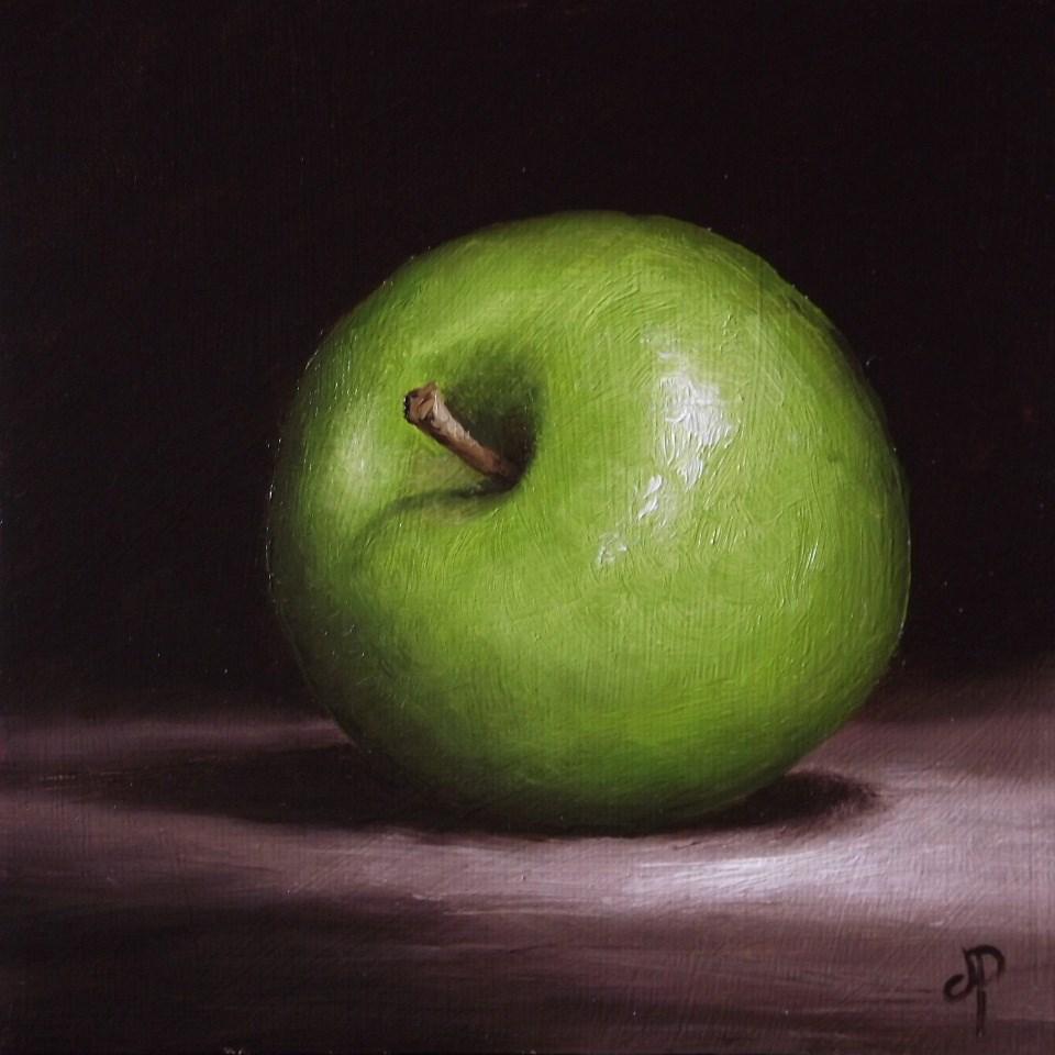 """Green Apple"" original fine art by Jane Palmer"