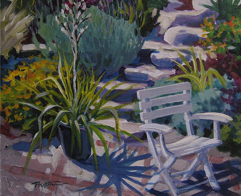 """White Chair 8x10_acry"" original fine art by Jan Poynter"