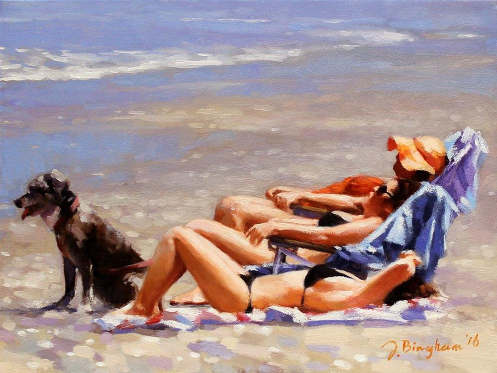 """""""Bodyguard -- Series Painting of Dogs & Owners on the Beach"""" original fine art by Joanna Bingham"""