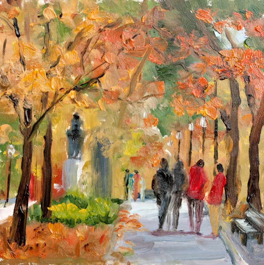 """KMD2839 Glowing Autumn by Colorado artist Kit Hevron Mahoney (6x6 landscape, oil)"" original fine art by Kit Hevron Mahoney"