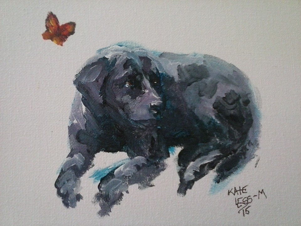 """Piper and the Monarch"" original fine art by Kate Less-Madsen"