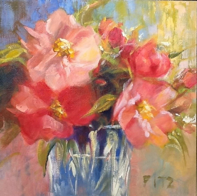 """Camillia Bouquet"" original fine art by Jean Fitzgerald"
