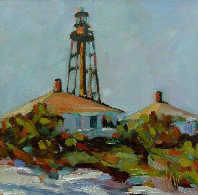 """Sanibel Lighthouse 6x6 oil on gesso board"" original fine art by Mary Sheehan Winn"