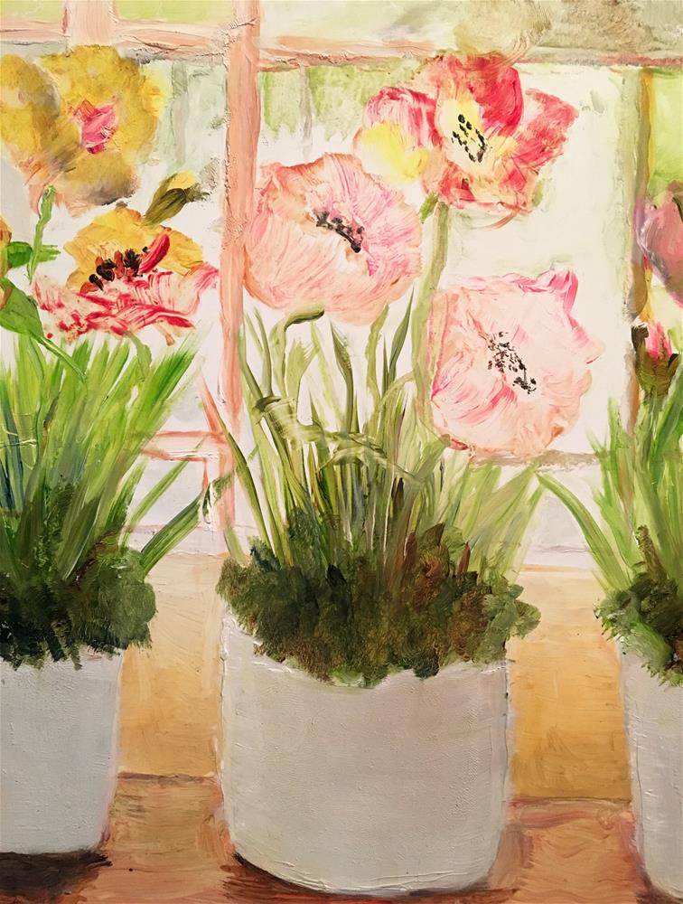 """""""Poppies in the Windowsill"""" original fine art by Susan Elizabeth Jones"""