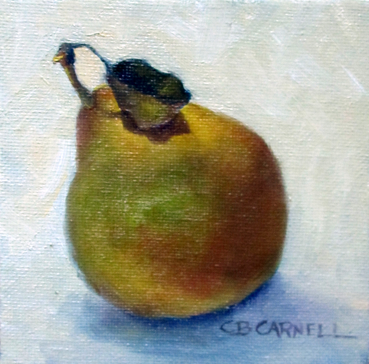 """SECKEL PEAR WITH LEAF by Claire Beadon Carnell 100 Paintings in 100 Days Challenge 'Inspirations from"" original fine art by Claire Beadon Carnell"