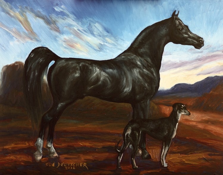 """""""Black Arabian Horse - Black Saluki Hound"""" original fine art by Sue Deutscher"""