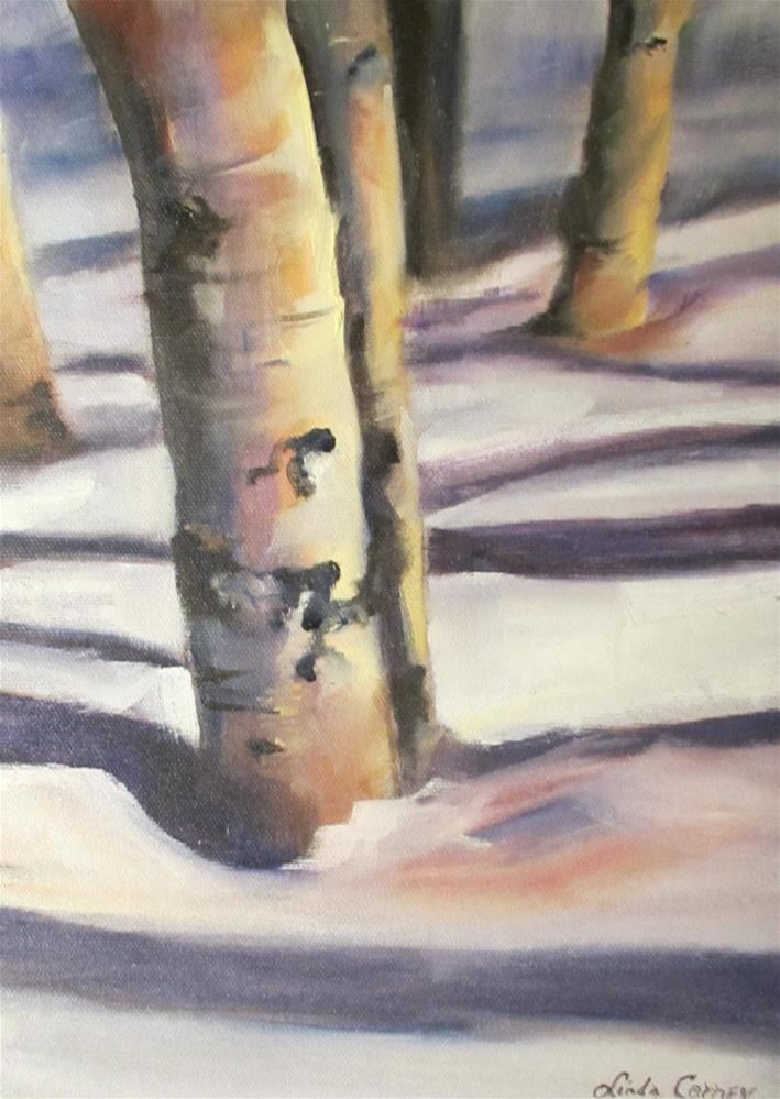 """Aspens in Snow"" original fine art by Linda Carney"