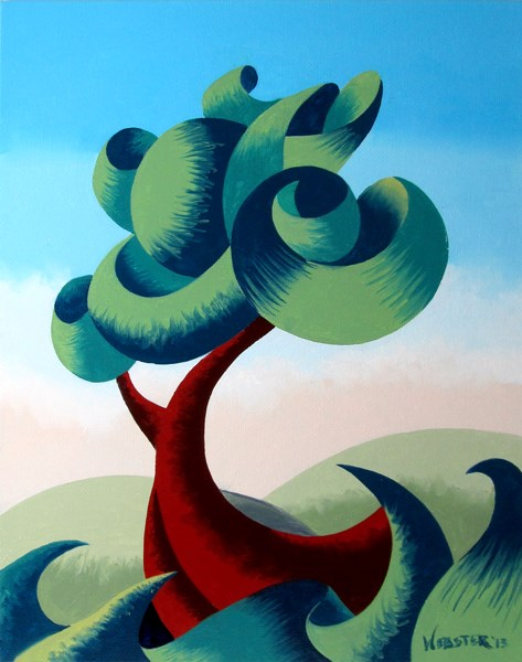 """Mark Webster - Abstract Geometric Futurist Landscape Oil Painting 13.10.2"" original fine art by Mark Webster"
