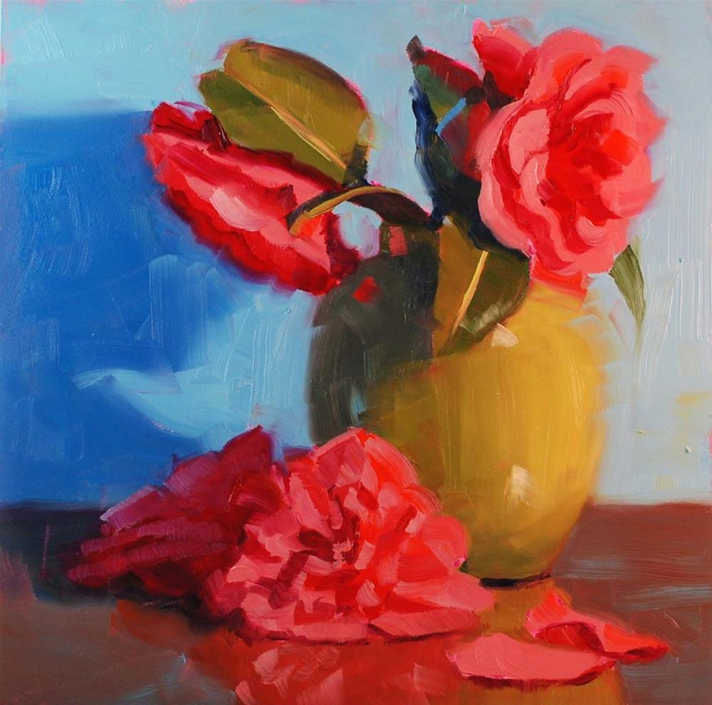 """The Neighbor's Camellias #2"" original fine art by Susan McManamen"