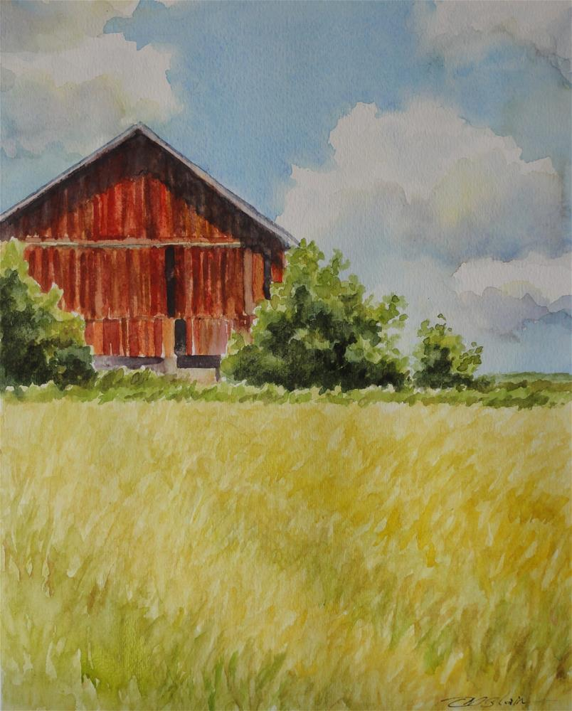 """The Old Red Barn"" original fine art by Christine Blain"
