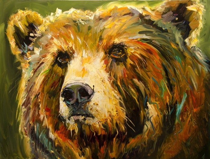 """BUDDY BEAR WILDLIFE ART OIL PAINTING DIANE WHITEHEAD WILDLIFE ART"" original fine art by Diane Whitehead"